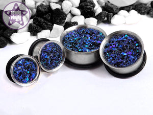 Ear Plugs / Gauges: Matrix Blue Purple Black Glitter Faux Druzy Stone