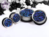 Ear Plugs / Gauges - Matrix Blue Purple Black Glitter Faux Druzy Plugs PREORDER