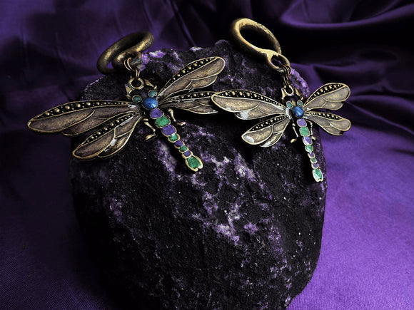 Ear Weights / Hangies: Brass Green Purple Blue Dragonfly PAIR
