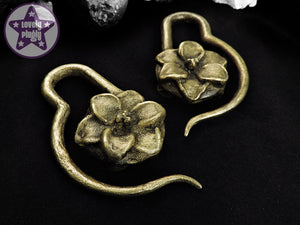 Ear Weights / Hangies - Cold Cast Brass Lilly Flower PAIR READY NOW