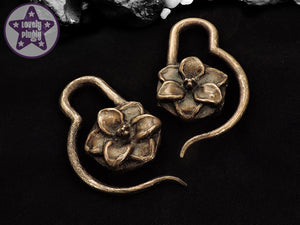 Ear Weights / Hangies: Cold Cast Bronze Stargazer Lily Flower PAIR