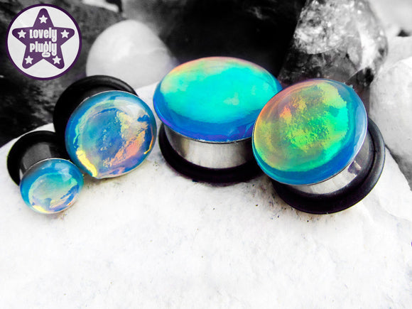 Ear Plugs / Gauges - Chromatic Death Blue Orange Green Colour Flash Plugs PREORDER