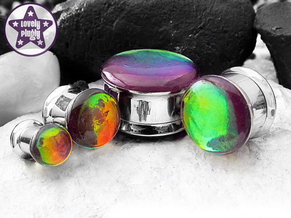 Ear Plugs / Gauges - Chromatic Death Purple Rainbow Colour Flash Plugs PREORDER