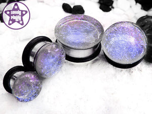 Ear Plugs / Gauges: Interference Clear Blue Purple Faux Dichroic