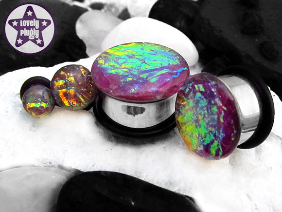 Ear Plugs / Gauges - Faux Dichroic Ocean of Blackberry Pie Purple Rainbow Plugs PREORDER