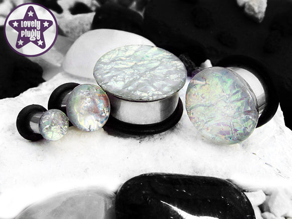 Ear Plugs / Gauges - Faux Dichroic Ocean of Ice White Flash Plugs PREORDER
