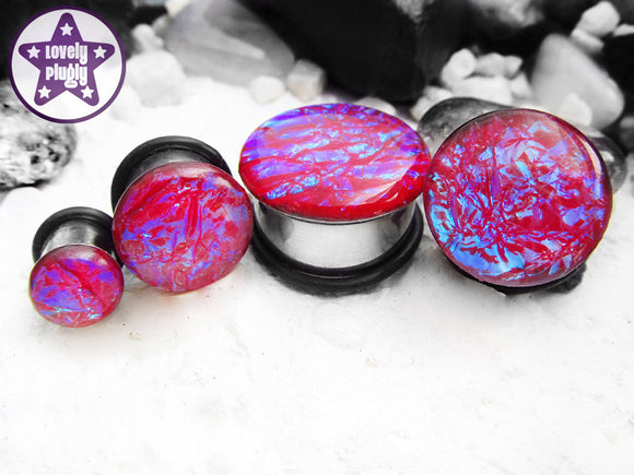 Ear Plugs / Gauges: Ocean of RGB Red Blue Green Faux Dichroic