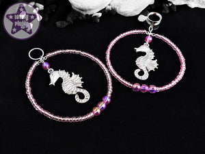 Ear Weights / Hangies - Silver Seahorse in Pink Beaded Hoops Plug Pendants PAIR READY NOW
