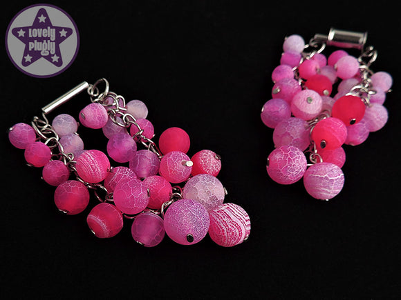 Ear Weights / Hangies - Pink Dragon Vein Agate 316L Weights PAIR READY NOW