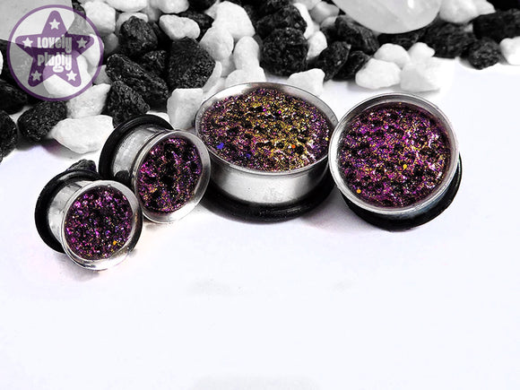 Ear Plugs / Gauges - Matrix Pink Gold Black Glitter Faux Druzy Plugs PREORDER