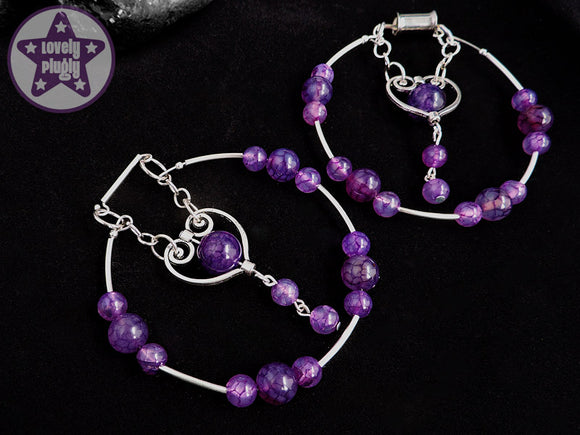 Ear Weights / Hangies: Purple Dragon Vein Agate Stone Silver Hoop PAIR