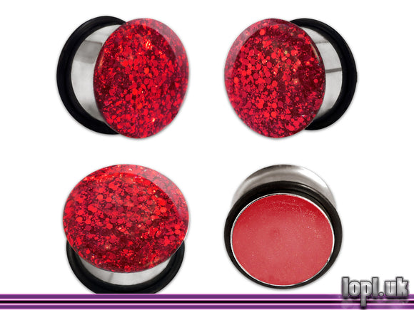 Ear Plugs / Gauges: Ruby Ruby Ruby Ruby Red Glitter Sparkle