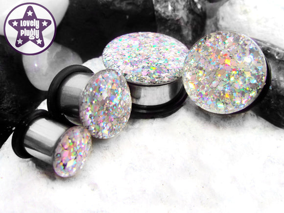 Ear Plugs / Gauges - Holographic Silver Machine Glitter Plugs PREORDER