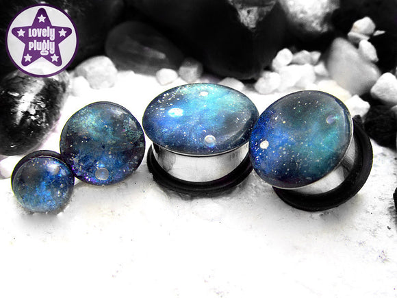 Ear Plugs / Gauges - Space is Deep Blue Green Galaxy Glitter Plugs PREORDER