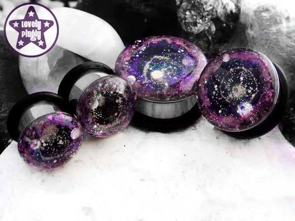 Ear Plugs / Gauges - Supernova Remnant Pink Purple Galaxy Glitter Plugs PREORDER