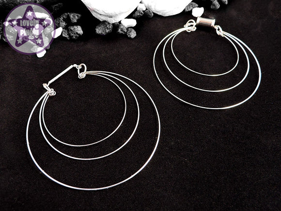 Ear Weights / Hangies - Silver Toned Triple Hoops PAIR PREORDER
