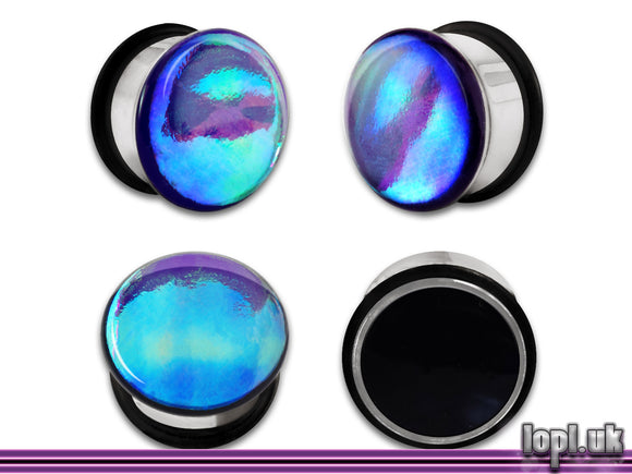 Ear Plugs / Gauges: Aberration 01 Purple Green Flash Faux Dichroic PREORDER