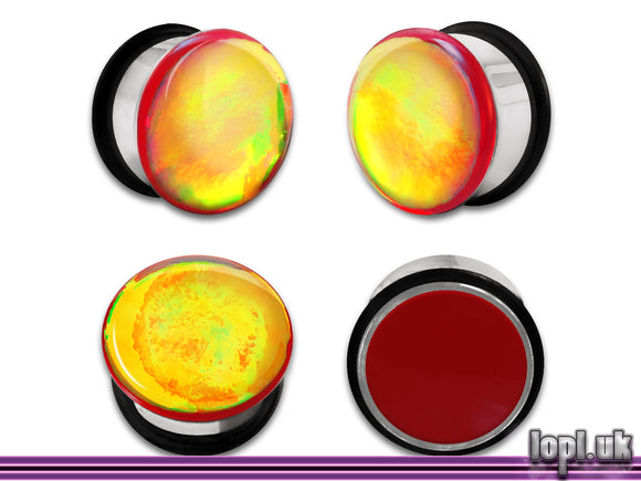 Ear Plugs / Gauges: Aberration 02 Red Green Orange Flash Faux Dichroic