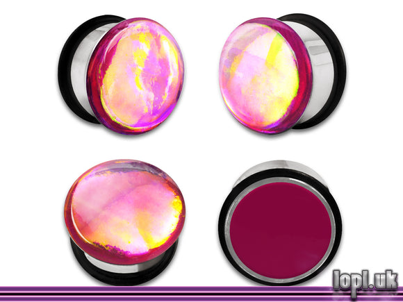 Ear Plugs / Gauges: Aberration 03 Magenta Rainbow Flash Faux Dichroic