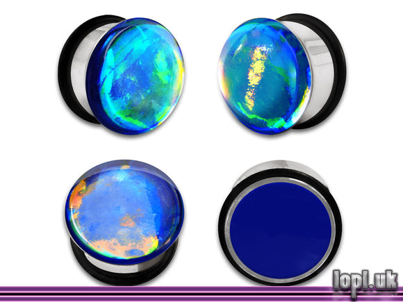 Ear Plugs / Gauges: Aberration 04 Blue Green Yellow Flash Faux Dichroic
