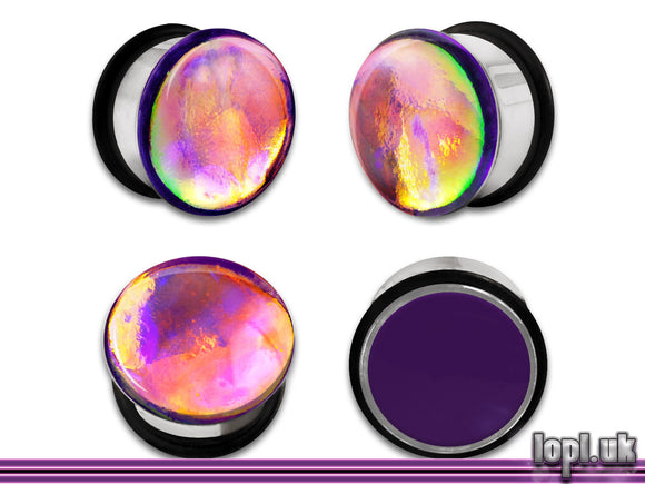 Ear Plugs / Gauges: Aberration 05 Purple Rainbow Flash Faux Dichroic