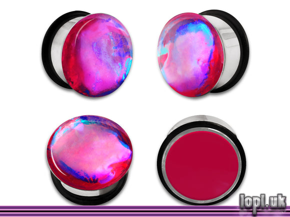 Ear Plugs / Gauges: Aberration 07 Magenta Blue Teal Flash Faux Dichroic