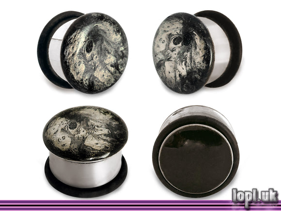 Ear Plugs / Gauges: Handpainted Abstract Moon Rock Black Grey