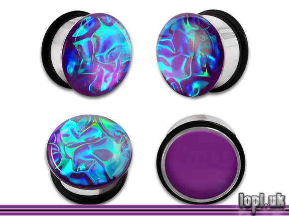 Ear Plugs / Gauges: Alien Skin 01 Purple Green Textured Faux Dichro