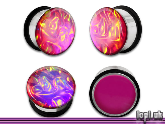 Ear Plugs / Gauges: Alien Skin 02 Orange Pink Textured Faux Dichro