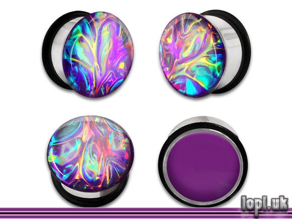 Ear Plugs / Gauges: Alien Skin 04 Purple Rainbow Textured Faux Dichro