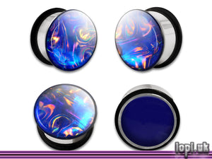 Ear Plugs / Gauges: Alien Skin 05 Blue Bronze Textured Faux Dichro