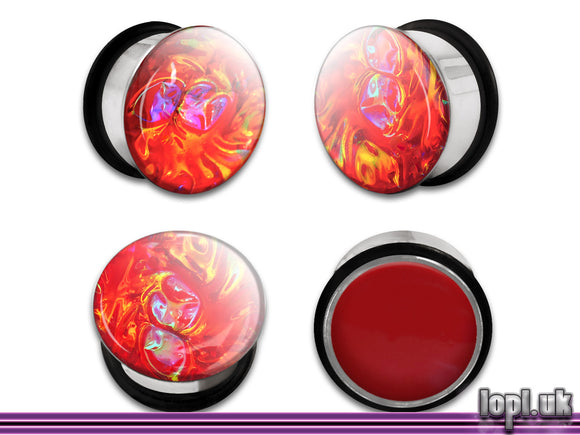 Ear Plugs / Gauges: Alien Skin 06 Red Rainbow Textured Faux Dichro