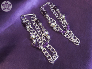 Ear Weights / Hangies: Purple Amethyst Silver Tone Heavy Chain PAIR
