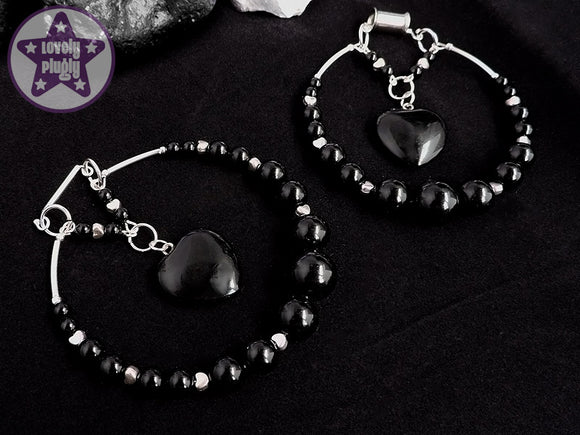 Ear Weights / Hangies: Black Onyx Stone Heart Hoops PAIR