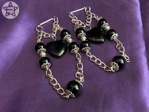 Ear Weights / Hangies: Black Onyx Stone Heart with Heavy Chain PAIR