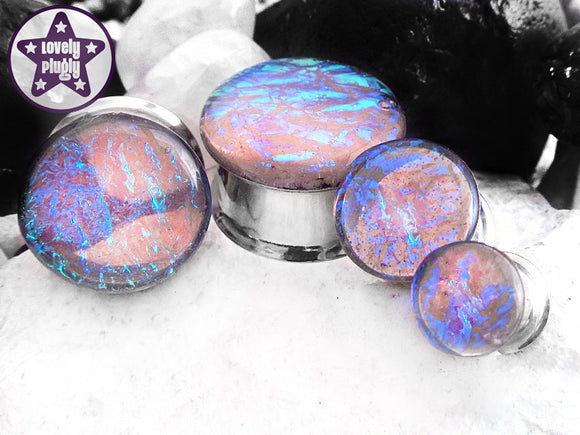 Ear Plugs / Gauges: Fruity Sherbet Purple Blue Pink Faux Dichroic
