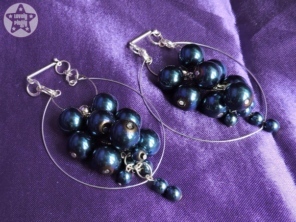 Ear Weights / Hangies: Blue Metallic Haematite Stone Hoop Cascade PAIR