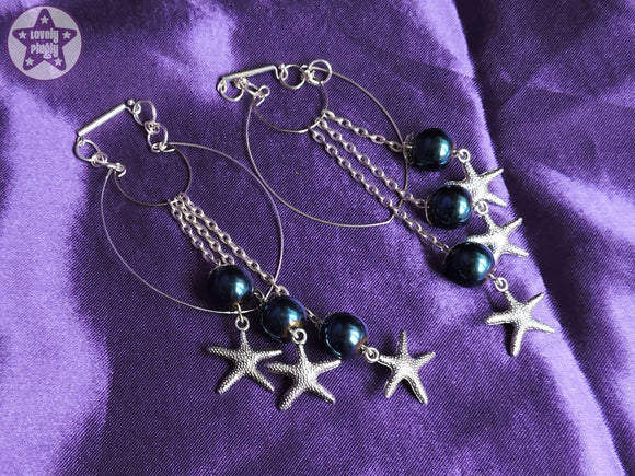 Ear Weights / Hangies: Blue Haematite Stone Starfish Chain Hoops PAIR