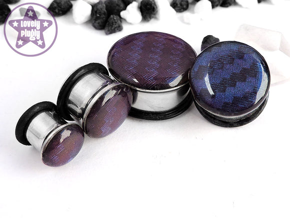 Ear Plugs / Gauges - Spectrocarb Carbon Fibre Duochrome Blue Purple Plugs PREORDER