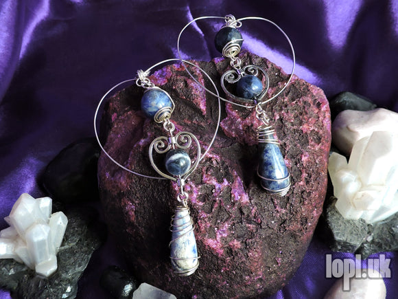 Ear Weights / Hangies: Blue White Sodalite Heart Hoops PAIR