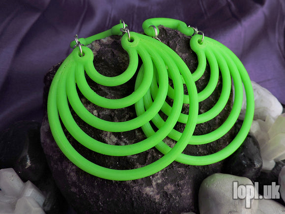 Ear Weights / Hangies: Bright Green Super Hoops PAIR