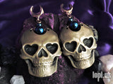 Ear Weights / Hangies: Brass & Blue Haematite Skulls Saddle Plugs PAIR