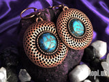 Ear Weights / Hangies: Copper Spiro Flower with Faux Turquoise PAIR