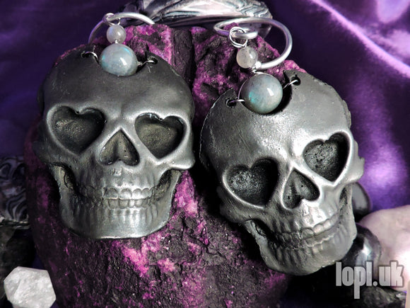 Ear Weights / Hangies: Silver Toned Iron & Labradorite Skulls PAIR