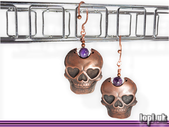 Ear Weights / Hangies: Copper and Purple Amethyst Skulls PAIR