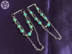 Ear Weights / Hangies: Cyan Impression Jasper Stone Silver Chain PAIR