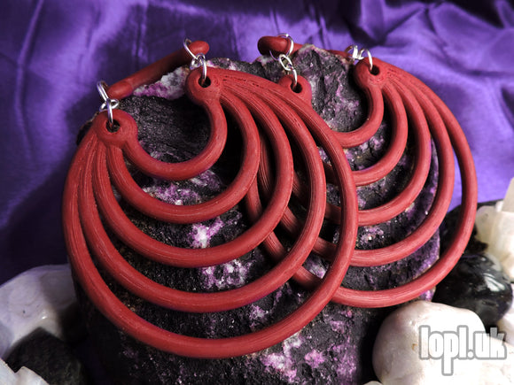 Ear Weights / Hangies: Deep Red Super Hoops PAIR
