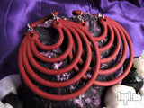 Ear Weights / Hangies - Deep Red Super Hoops 8mm+ / 0g+ PAIR READY NOW