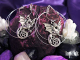 Ear Weights / Hangies: Silver Toned Pentagram Dragon Hoops PAIR