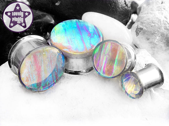 Ear Plugs / Gauges - Faux Dichroic Dragonfly Wing (Pond) Translucent Plugs PREORDER